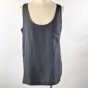 J.Crew Women Gray Silk Pocket Tank Top Size 6
